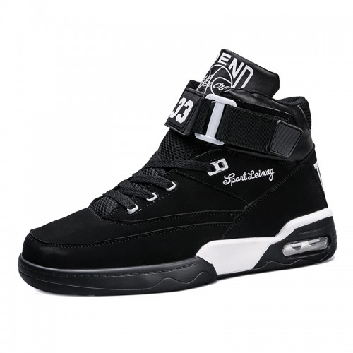 Trendy High Top Sneakers Make You Taller Black Buckle Elevator Skate Shoes Increase 3.6inch / 9cm
