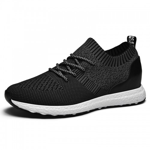 Black Elevator Flyknit Walking Shoes for Men Get Taller 2.4inch / 6cm Breathable Hidden Lift Sock Sneakers