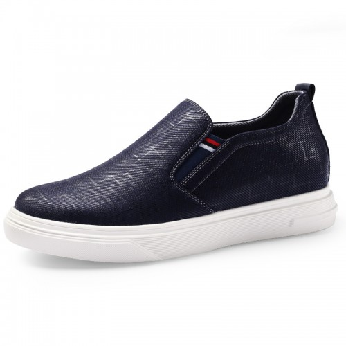 Blue Slip on fabric height increasing skateboarding loafers add taller 2.6inch / 6.5cm instantaneously.