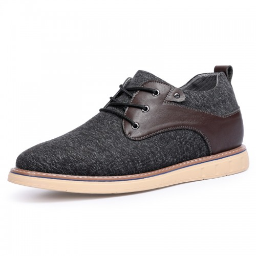 2021 Trendy Height Increasing Men Plimsolls Lightweight Gray Canvas Sneakers Taller 2.4inch / 6cm