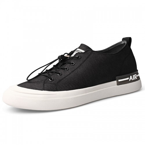 Height Increasing Classic Canvas Shoes Black All Match Lightweight Skate Shoes Add Taller 2.2 inch / 5.5 cm