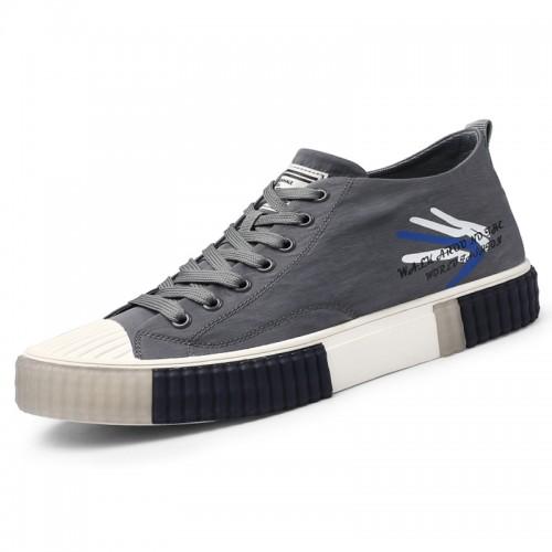 Hidden Taller Canvas Skateboard Shoes Grey Trendy Casual Sneakers Heighten 2.2 inch / 5.5 cm