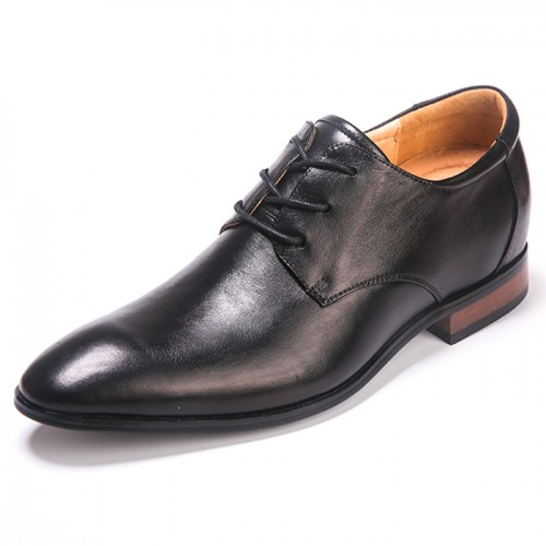 Black Pointed Elevator Shoes for men height increase 2.5inch black hidden heel dress shoes