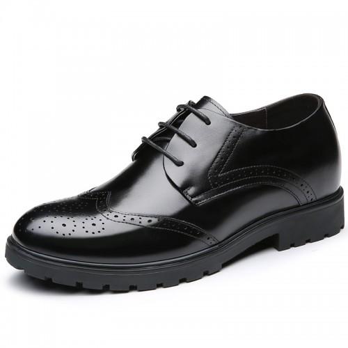 Brogue Calf Leather Dress Shoes Taller 7cm / 2.8inch Black Wedding Elevator Shoes