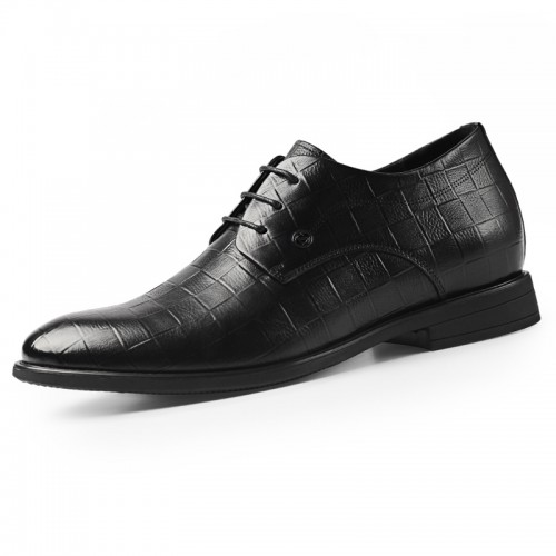 2020 Black Embossed Elevator Dress Shoes for Men Taller 2.6inch / 6.5cm Breathable Lace Up Business Formal Shoes