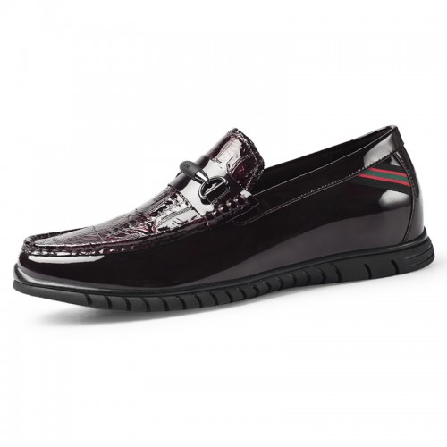 Shiny Height Lift Flat Shoes Wine-Red Elevator Bit Loafers for Men Increase 2.2inch / 5.5cm Slip On Driving Doug Shoes