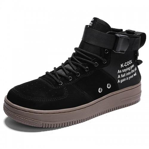 Black Elevator High Cut Sneakers for Men Taller 2.8inch / 7cm Easy Match Hidde Heel Skate Shoes