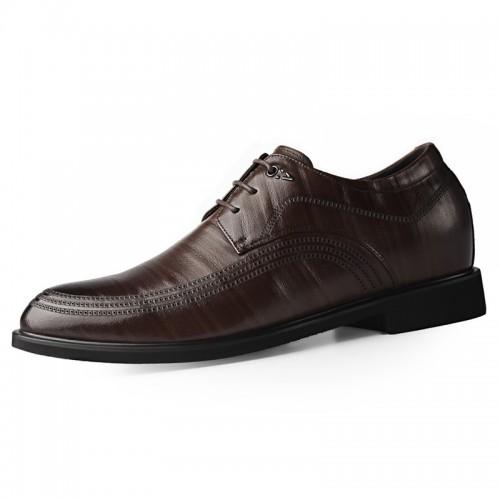 2020 British Elegant Hidden Taller Tuxedo Shoes for Men Add Height 2.4inch / 6cm Brown Cowhide Elevator Formal Derbies