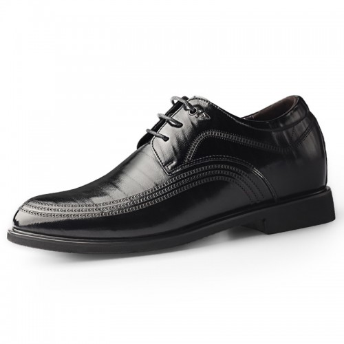2020 British Elegant Hidden Height Tuxedo Shoes for Men Increase 2.4inch / 6cm Black Cowhide Elevator Formal Derbies