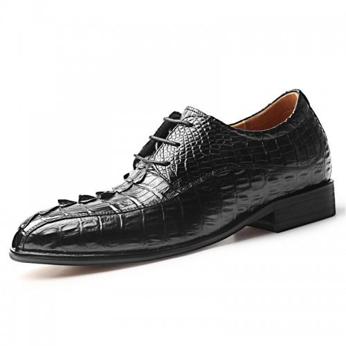 2020 Luxurious Height Elevator Genuine Alligator Leather Wedding Shoes Taller 2.8inch / 7cm Handcraft Formal Derbies