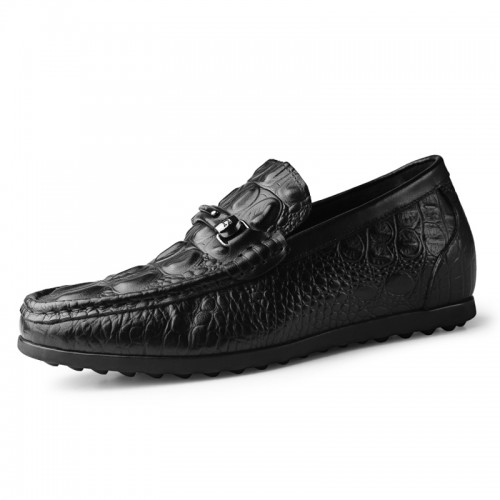 2020 Comfortable Elevator Doug Shoes Add Taller 2.4inch / 6cm Black Soft Genuine Leather Flat Loafers