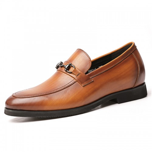 2020 Height Elevator Men Bit Loafers Increase 2.6inch / 6.5cm Yellow Lightweight Slip On Dress Shoes