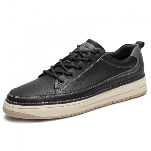 Retro Elevator Low Top Skate Shoes Add Height 2 inch / 5 cm Black Genuine Leather Casual Walking Shoes