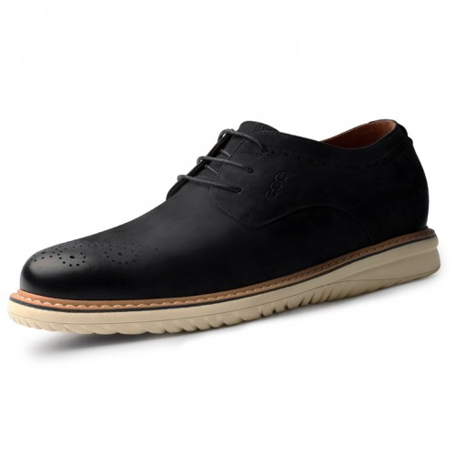 2020 Retro Brogue Elevator Shoes for Men Increase 2.4inch / 7cm Black Soft Nubuck Leather Taller Casual Shoes