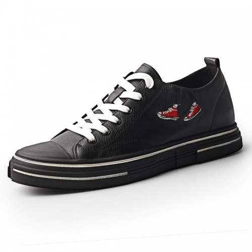 2020 Low Top Elevator Skateboarding Shoes for Men Increase 2.4inch / 6cm Black Genuine Leather Retro Sneakers