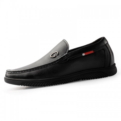 2020 Black Elevator Driving Shoes Increase 2.2inch / 5.5cm Slip On Soft Leather Taller Men Loafers