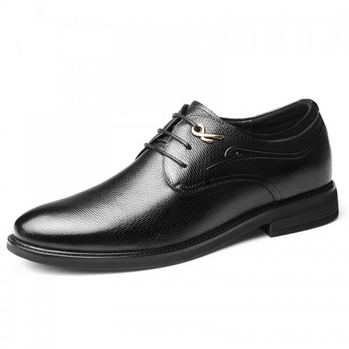Comfortable Taller Men Wedding Shoes Black Soft Cowhide Dressy Formal Shoes Add Height  2.4 inch / 6 cm