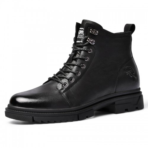 Fashion Motorcycle Boots Add Height Black Genuine Leather Side Zip Boots Increase 2.8 inch / 7 cm
