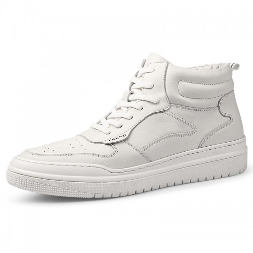 White Perforated Elevator High Top Trainers Soft Calfskin Skateboarding Shoes Increase Tall 2.4 inch / 6 cm