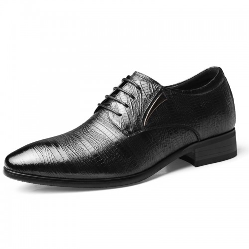 British Height Increasing Formal Shoes Fashion Embossed Leather Elevator Oxfords Boost Taller 2.8 inch / 7 cm