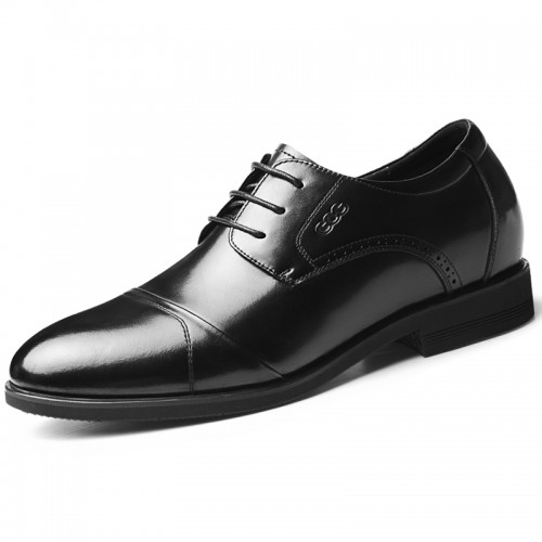 Famous Elevator Derby Shoes Add Taller 2.6 inch / 6.5 cm Classic Cap Toe Bridegroom Wedding Shoes