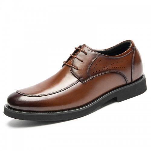 Lightweight Hidden Lift Derbies Boost 2.4 inch / 6 cm Brown Breathable Elevator Business Formal Shoes