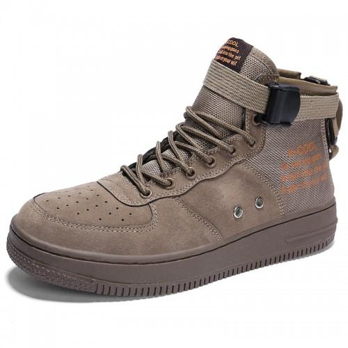 Khaki Elevator High Cut Skate Shoes for Men Get Taller 2.8inch / 7cm Easy Match Hidde Heel Sneakers
