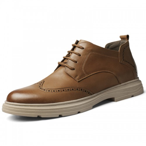 European High Top Brogue Casual Shoes Brown Hidden Lift Business Shoes Height 2.4 inch / 6 cm