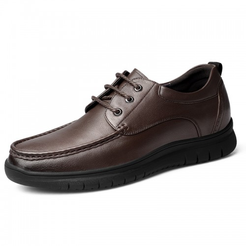 Width Height Elevator Shoes Brown Cowhide Stitch Casual Shoes Increase Taller 2.4 inch / 6 cm
