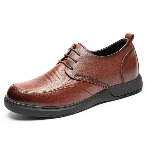 Refined Hidden Taller Business Shoes Raise Height 2.4 inch / 6 cm Brown Soft Leather Casual Shoes