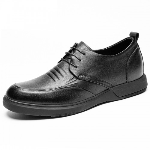 Refined Height Increasing Business Shoes for Men Gain Taller 2.4 inch / 6 cm Black Soft Leather Casual Shoes