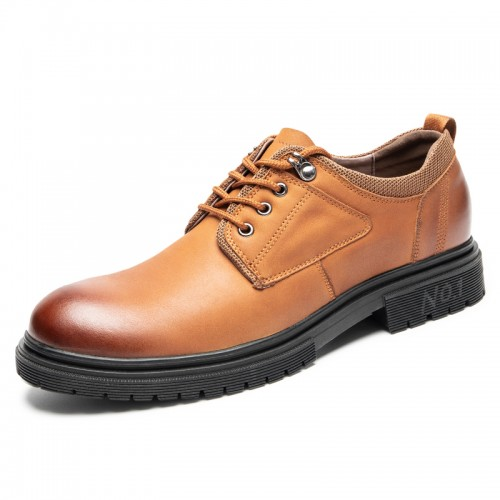 Everyday Hidden LIft Outdoor Shoes Add Height 2.6 inch / 6.5 cm Brown Cowhide Leather Spacious Toe Work Shoes