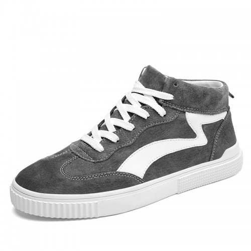 Grey Street Men Elevator Trainers Increase Height 2.8inch / 7cm High Top Fashion Skate Shoes