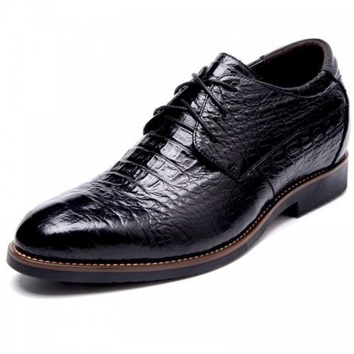Croc Print  Premium Leather Elevator Shoes 3.2inch / 8cm Black Taller Dress Shoes
