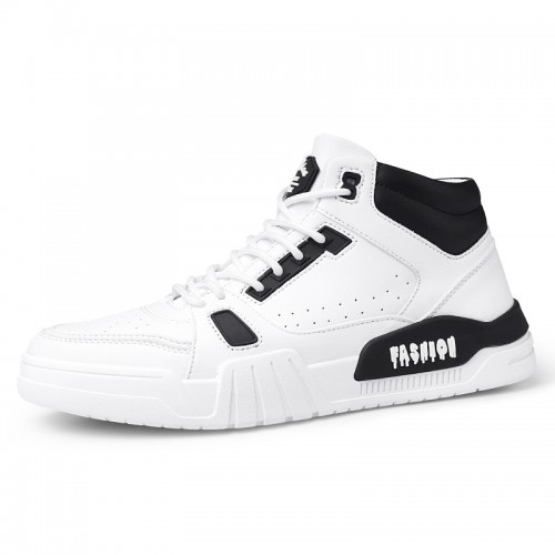 White-Black Hidden Lift Fashion Skateboarding Shoes High Top Elevator Sneakers Add Height  2.4inch / 6cm