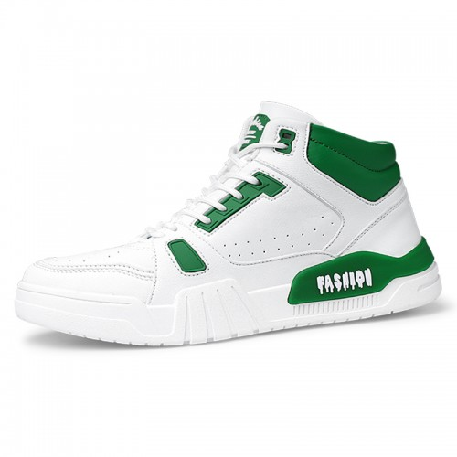White-Green Hidden Height Fashion Skateboarding Shoes High Top Elevator Sneakers Add Taller 2.4inch / 6cm