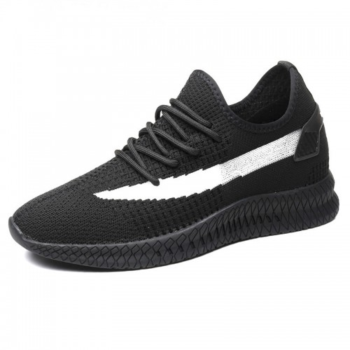 Black Designed Height Elevator Sneakers Breathable Flyknit Hidden Lift Running Shoes Taller 3.2inch / 8cm