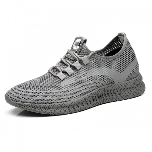Hollow Out Taller Trainers Grey Height Elevator Flyknit Shoes Make You Taller 8cm / 3.2inch