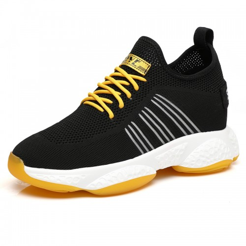 4 inch Height Increasing Men Fashion Sneakers Hollow Out Flyknit Elevator Walking Shoes Add Taller 10cm