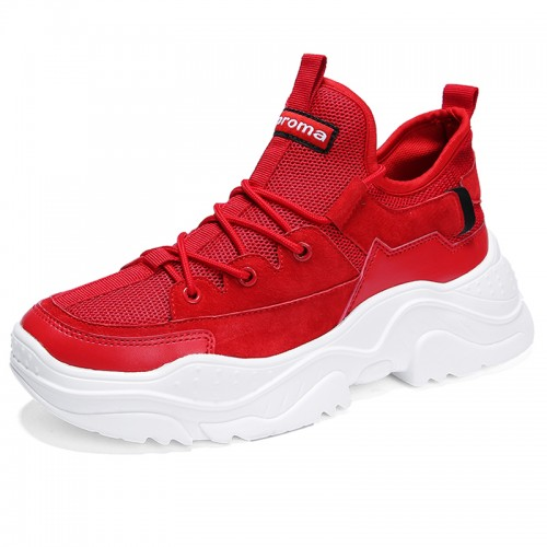Taller Knit Running Shoes for Men Height 2.8inch / 7cm Red Lift Sneakers