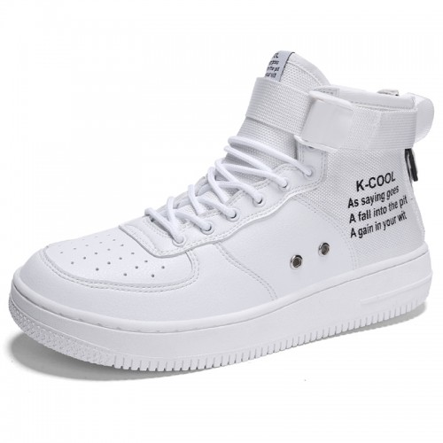 White Elevator High Cut Sneakers for Men Height 2.8inch / 7cm Easy Match Hidde Heel Skate Shoes