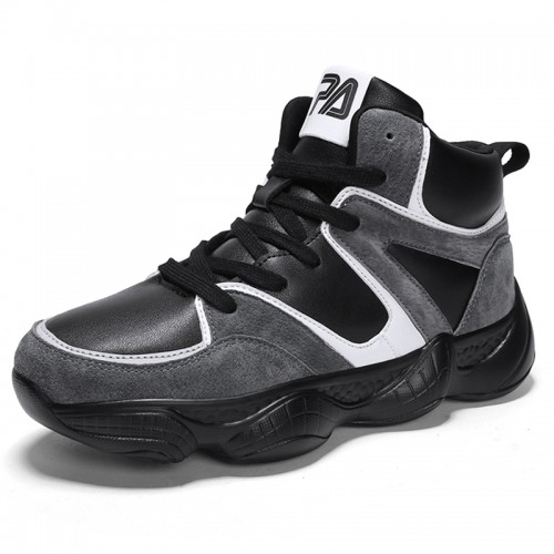 Black-Grey Height Increasing Men Basketball Shoes Gain Taller 3.2inch / 8cm