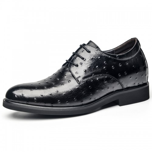 Black Ostrich Embossed Elevator Derby Shoes for Men Add Taller 2.6inch / 6.5cm Luxury Height Increasing Wedding Shoes