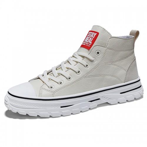 Beige Elevator Plimsolls Shoes for Men  Add Taller 2.8inch / 7cm Korean Trendy High Top Skate Shoes