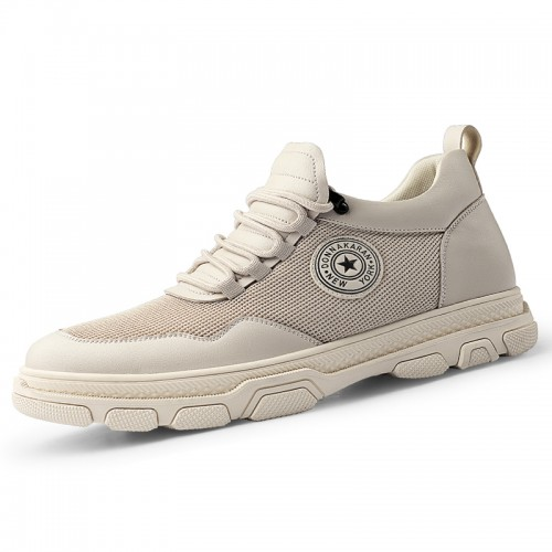 2020 New Elevated Men Running Shoes Increase 2.6inch / 6cm Khaki Mesh Hidden Taller Trainers