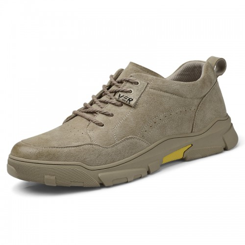 2021 Height Work Shoes Tan Nubuck Leather Casual Shoes Increase 2.6 inch