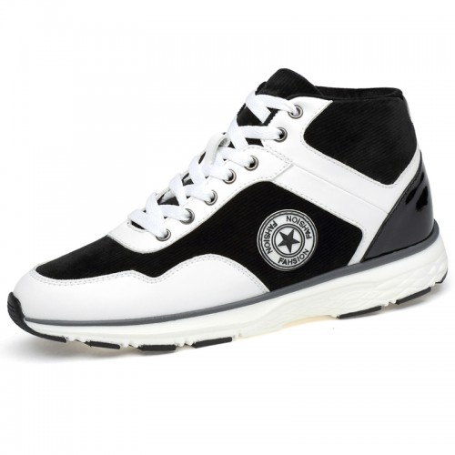 Fashion Height Increasing Sneakers Add Altitude 3.2inch / 8cm White Lace Up Taller Walking Shoes