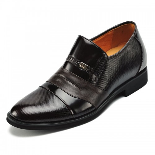 Business pointed height dress shoes get taller 7cm / 2.75inches men elevator wedding shoes