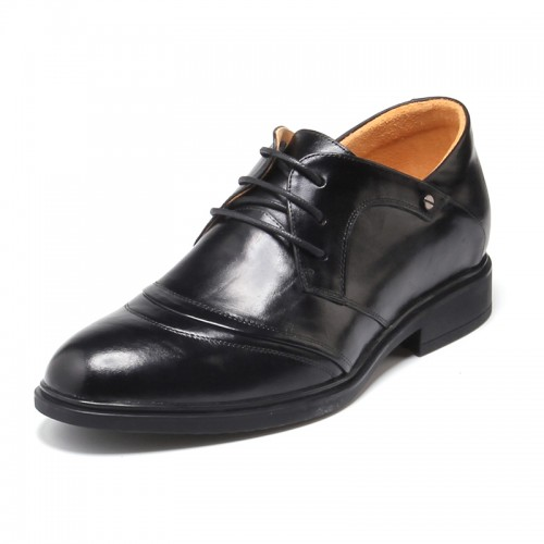 Comfortable black cow leather elevator dress shoes 5.5cm / 2.17 inch height oxfords