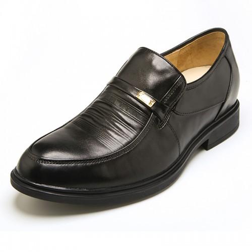 Europe black leather elevator slip on formal shoes add taller 5.5cm / 2.17 inch